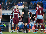 St Johnstone v Stenhousemuir&hellip;21.01.17  McDiarmid Park  Scottish Cup<br />Colin McMenamin is spoken to by referee Euan Anderson<br />Picture by Graeme Hart.<br />Copyright Perthshire Picture Agency<br />Tel: 01738 623350  Mobile: 07990 594431