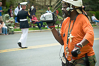 African american spectator video tapes  Loyalty day patriotic parade in small town USA.
