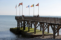 People on the pier at the Chemin de La Mer, with view over the English Channel, at Le Havre, Normandy, France. Picture by Manuel Cohen