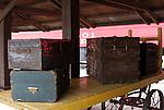 Old Luggage on a train depot platform