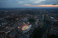 Aerial of Ohio Stadium, November 13, 2010 from 10TV Chopper 10. Ohio State was playing Penn State in a 3:30pm game. Aerial was taken between the end of the first half and the start of the second half.  The Goodyear Blimp is in the upper right.  Downtown Columbus is pictured in the background. Dispatch photo by Karl Kuntz as seen from WBNS-10TV Chopper 10