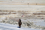 Duane Ehmer, of Irrigon, Oregon, rides the perimeter on Hellboy, at the Malheur National Wildlife Reserve on January 15, 2016 in Burns, Oregon. Ehmer has been pulling sentry duty during the takeover. Ammon Bundy and about 20 other protesters took over the refuge on Jan. 2 after a rally to support the imprisoned local ranchers Dwight Hammond Jr., and his son, Steven Hammond.      ©2016. Jim Bryant Photo. All Rights Reserved.