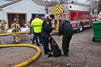 Westerville Animal Control Officer Kim Stambaugh, right, consoles a dog retrieved from an apartment fire. the dog was uninjured in the afternoon fire although it  required a great deal of attention to calm it down after it was removed from the fire scene..