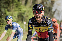 Belgian Champion Philippe Gilbert (BEL/Quick Step floors) back in the pack for the first time since his Ronde Van Vlaanderen win 10 days earlier.<br /> <br /> 57th Brabantse Pijl - La Fl&egrave;che Braban&ccedil;onne (1.HC)<br /> 1 Day Race: Leuven &rsaquo; Overijse (197km)