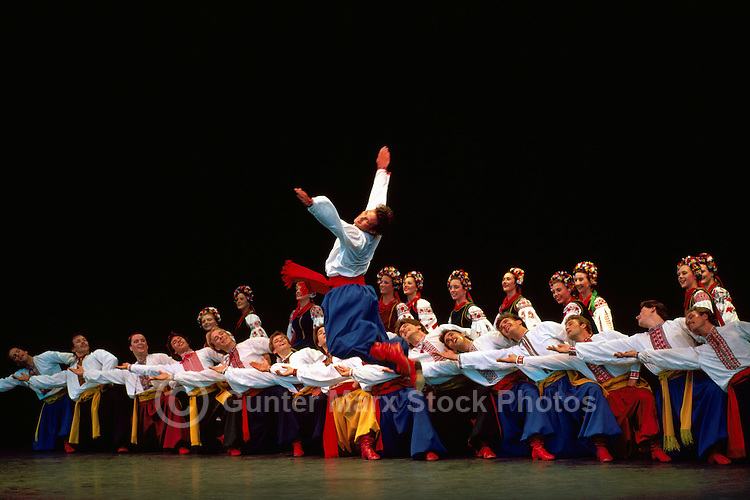 Ukrainian Shumka Dancers from Edmonton, Alberta, AB, Canada, performing on Stage in Traditional Costume