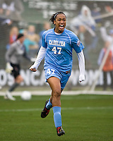 North Carolina forward Jessica McDonald (47) celebrates scoring the game winning goal goal in the 3rd minute. North Carolina defeated Stanford 1-0 to win the 2009 NCAA Women's College Cup at the Aggie Soccer Stadium in College Station, TX on December 6, 2009.