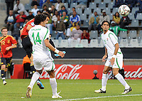 David Villa of Spain scores the only goal of the match. Spain defeated Iraq 1-0 during the FIFA Confederations Cup at Free State Stadium, in Mangaung/Bloemfontein South Africa on June 17, 2009.