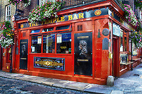 A corner view of the landmark Temple Bar in Dublin, Ireland.