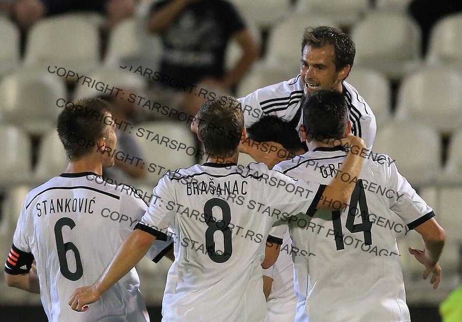 Fudbal Football Soccer<br /> UEFA Champions league-2nd qualifying round<br /> Partizan v HB Torshavn (Faroe Islands)<br /> Danko Lazovic (TOP) celebrate the goal with the team mates<br /> Beograd, 07.15.2014.<br /> foto: Srdjan Stevanovic/Starsportphoto &copy;