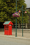 Red phone booth in downtown Christchurch, New Zealand