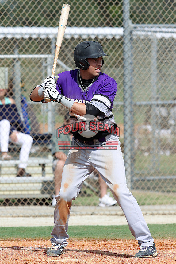 John Sternagel, #23 of Rockledge High School, Florida playing for the Orlando Scorpions Purple during the WWBA World Champsionship 2012 at the Roger Dean Complex on October 27, 2012 in Jupiter, Florida. (Stacy Jo Grant/Four Seam Images)