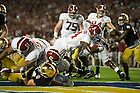 Jan. 7, 2013; Alabama running back T.J. Yeldon scores a touchdown against Notre Dame during the first half of the 2013 BCS National Championship in Miami, Florida. Alabama defeated Notre Dame 42 to 14. Photo by Barbara Johnston/University of Notre Dame
