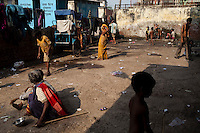 Children take a bath in the compound of the 3 story abandoned building that has been made into the Motiakhan Shelter for homeless people, in Paharganj on 5th October 2010, in Old Delhi, India. There are 120 children at the shelter. Picture: Suzanne Lee for The Australian.
