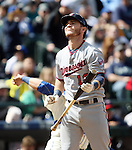 Minnesota Twins  Chris Herrmann bats against the Seattle Mariners'   April 26, 2015 at Safeco Field in Seattle.  The Twins beat the Mariners beat the Angels 4--2. ©2015. Jim Bryant photo. All RIGHTS RESERVED.