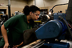 Waterbury, CT- 20 April 2017-042017CM01- Career Academy senior, Tiana Wright works at a machine at Cly-Del during an internship in Waterbury on Thursday.    Christopher Massa Republican-American