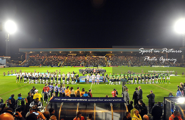 The teams line up before kick off  - PHOTO: Mandatory by-line: Garry Bowden/SIPPA/Pinnacle - Photo Agency UK Tel: +44(0)1363 881025 - Mobile:0797 1270 681 - VAT Reg No: 768 6958 48 - 28/10/2013 - Rugby League World Cup 2013, Fiji v Ireland, Spotland Stadium, Rochdale, England