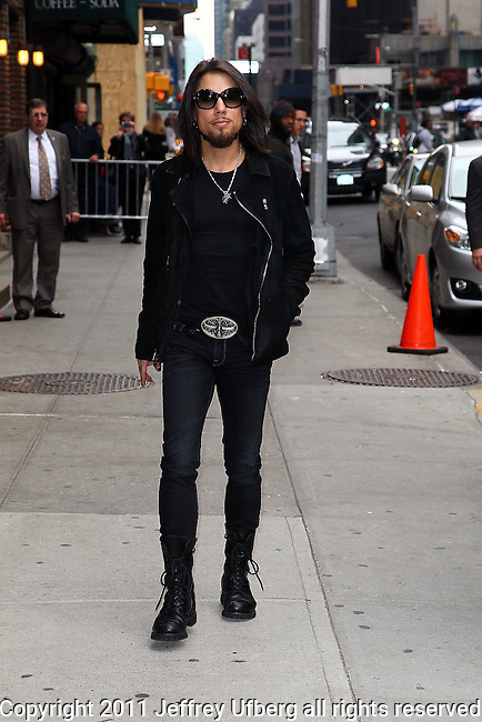 "October 24, 2011 New York: Musician Dave Navarro visits ""Late Show With David Letterman"" at the Ed Sullivan Theatre on October 24, 2011 in New York."