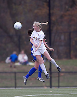 Boston College midfielder Julia Bouchelle (12) heads the ball. Boston College defeated Hofstra University, 3-1, in second round NCAA tournament match at Newton Soccer Field, Newton, MA.