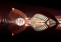 Museum of Sciences Principe Felipe, 40,000 square meters devoted to bringing science and technology closer to the public ; The Hemisphere, first area of the City of Arts and Sciences covering 14,000 square meters, City of Arts and Sciences, 2000 and 1998, Santiago Calatrava, Valencia, Comunidad Valenciana, Spain Picture by Manuel Cohen