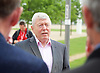 Labour IN campaign bus visits the Queen Elizabeth Olympic Park Stratford, London with Alan Johnson MP chair of the Labour in for Britain campaign to set out what impact leaving the European Union would have on the UK tourism sector.<br />  <br /> 29th May 2016 <br /> <br /> Alan Johnson <br /> <br /> <br /> <br /> Photograph by Elliott Franks <br /> Image licensed to Elliott Franks Photography Services