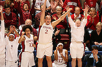 19 March 2007: Markisha Coleman, Cissy Pierce, Jayne Appel, Melanie Murphy, and and Clare Bodensteiner during Stanford's 68-61 second round loss to Florida State in the 2007 NCAA Division I Women's Basketball Championships at Maples Pavilion in Stanford, CA.