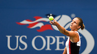 NEW YORK, USA - SEPT 10, Karolina Pliskova of Czech Republic serves to Angelique Kerber of Germany during their Women's Singles Final Match of the 2016 US Open at the USTA Billie Jean King National Tennis Center on September 10, 2016 in New York.  photo by VIEWpress