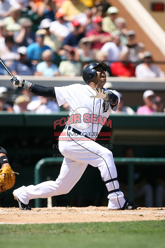 March 21st 2008:  Carlos Guillen of the Detroit Tigers during Spring Training at Joker Marchant Stadium in Lakeland, FL.  Photo by:  Mike Janes/Four Seam Images