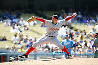 15 June 2011: Reds LHP pitcher #45 Bill Bray on the mound during a Major League Baseball game where the LA Dodgers were defeated 7-2 by the Cincinnati Reds at Dodger Stadium during a day game. Players are wearing throwback uniforms from the 1940's. **Editorial Use Only**