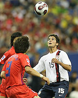 Sal Zizzo waits for a high ball to reach him. Republic of Korea and the USA tied 1-1 at the FIFA U20 World Cup at the Olympic stadium in Montreal, Canada on June 30, 2007.