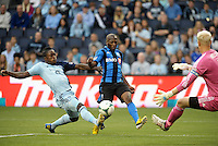 KANSAS CITY, KS - June 1, 2013:<br /> Sanna Nyassi (11) midfield Montreal Impact shoots on the KC goal.<br /> Montreal Impact defeated Sporting Kansas City 2-1 at Sporting Park.