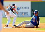 18 March 2006: Victor Diaz, catcher for the New York Mets, slides safely into second during a Spring Training game against the Washington Nationals at Space Coast Stadium, in Viera, Florida. The Nationals defeated the Mets 10-2 in Grapefruit League play...Mandatory Photo Credit: Ed Wolfstein Photo..