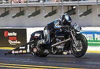 Mar. 16, 2013; Gainesville, FL, USA; NHRA pro stock motorcycle rider Eddie Krawiec during qualifying for the Gatornationals at Auto-Plus Raceway at Gainesville. Mandatory Credit: Mark J. Rebilas-