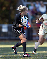 University of Miami goalkeeper Emily Lillard (2)..After two overtime periods, Boston College (gold) tied University of Miami (orange), 0-0, at Newton Campus Field, October 21, 2012.