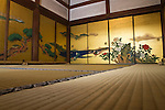 Tatami with Golden Fusuma at Shunkoin, a subtemple of Myoshinji Temple, was one of the most important places for Japanese Zen Buddhism in the early 20th century. Several sliding door panels at Shunkoin were painted by Eigaku Kano of the renowned Kano School of painting. Some of the paintings have Confucian themes as Confucianism was important to samurai during the Edo period when these paintings were made.