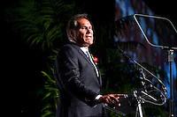 Jim Plunkett introduces Andrew Luck at the amateur athlete of the year at the San Jose Sports Hall of Fame induction ceremony at the HP Pavilion on Nov. 14, 2012.