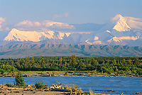 Alaska mountain range, Tanana river, near Fairbanks, Alaska