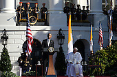 U.S. President Barack Obama speaks during the arrival ceremony for Pope Francis at the White House on September 23, 2015 in Washington, DC. The Pope begins his first trip to the United States at the White House followed by a visit to St. Matthew's Cathedral, and will then hold a Mass on the grounds of the Basilica of the National Shrine of the Immaculate Conception. <br /> Credit: Win McNamee / Pool via CNP