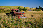 An old red International truck retired in a field in Idaho.