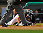 13 March 2012: Miami Marlins outfielder Kyle Jensen is hit by a pitch during a Spring Training game against the Atlanta Braves at Roger Dean Stadium in Jupiter, Florida. The two teams battled to a 2-2 tie playing 10 innings of Grapefruit League action. Mandatory Credit: Ed Wolfstein Photo