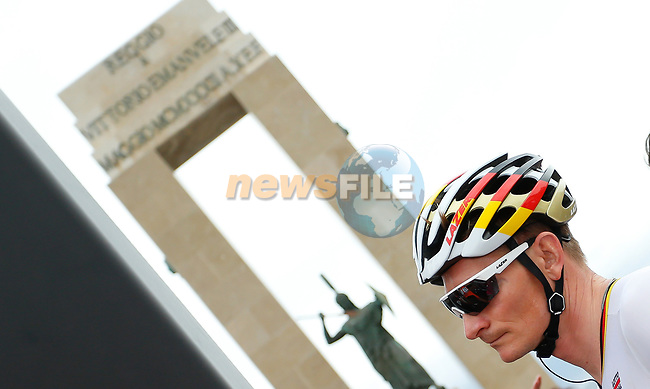 German National Champion Andre Greipel (GER) Lotto-Soudal  at sign on before the start of Stage 6 of the 100th edition of the Giro d'Italia 2017, running 217km from Reggio Calabria to Terme Luigiane, Italy. 11th May 2017.<br /> Picture: LaPresse/Simone Spada | Cyclefile<br /> <br /> <br /> All photos usage must carry mandatory copyright credit (&copy; Cyclefile | LaPresse/Simone Spada)