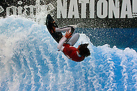 Collegiate Nationals, San Diego, CA.  Saturday, April 19 2008.  Trevor Kelly (18) of Mesa College competes in the semi-finals of the Flowboarding competiion.