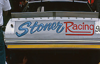 """Stoner Racing"" on the back of a car at the Southern 500 at Darlington Raceway in Darlington SC on September 1, 1985. (Photo by Brian Cleary/www.bcpix.com)"
