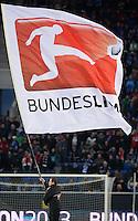 Fussball 1. Bundesliga 2012/2013: Relegation  Bundesliga / 2. Liga  TSG 1899 Hoffenheim  - 1. FC Kaiserslautern          23.05.2013 Fahne der Bundesliga flattert durchs Stadion