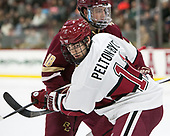 Colin White (BC - 18), Ty Pelton-Byce (Harvard - 11) - The Harvard University Crimson defeated the visiting Boston College Eagles 5-2 on Friday, November 18, 2016, at Bright-Landry Hockey Center in Boston, Massachusetts.{headline] - The Harvard University Crimson defeated the visiting Boston College Eagles 5-2 on Friday, November 18, 2016, at Bright-Landry Hockey Center in Boston, Massachusetts.