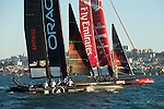 Emirates Team New Zealand and Oracle Team USA 4 in pre race manouvers for the final of the Match racing on day four of the America's Cup World Series, San Francisco. 6/10/2012