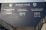 11 December 2015: The wall under the owner's box at the stadium lists all the championships won by Sporting Kansas City. The Clemson University Tigers played the Syracuse University Orange at Sporting Park in Kansas City, Kansas in a 2015 NCAA Division I Men's College Cup Semifinal match. The game ended in a 0-0 tie after overtime; Clemson advanced to the Final by winning the penalty kick shootout 4-1.