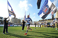 Tom Homer and the rest of the Bath Rugby team run out onto the field. Aviva Premiership match, between Bath Rugby and Harlequins on February 18, 2017 at the Recreation Ground in Bath, England. Photo by: Patrick Khachfe / Onside Images
