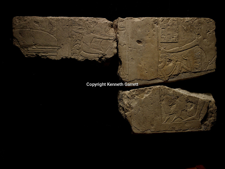 mm7864; 18th Dynasty; New Kingdom; Egypt; Tut; Tutankhamun; limestone; Sakkara, Smiting Enemies