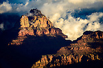 Clouds begin to engulf Vishnu Temple in Grand Canyon National Park.