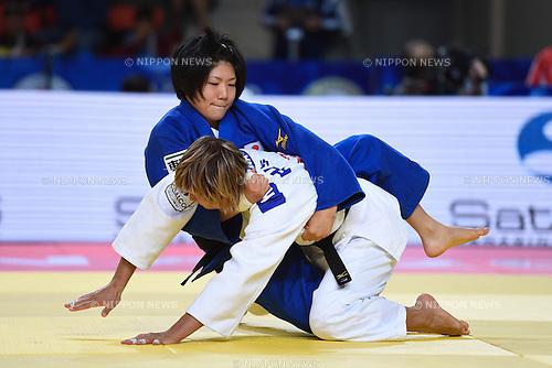 (T-B), Misato Nakamura (JPN), Natalia Kuziutina (RUS), AUGUST 25, 2015 - Judo : World Judo Championships Astana 2015 Women's -52kg quarterfinal at Alau Ice Palace in Astana, Kazakhstan. (Photo by AFLO SPORT)
